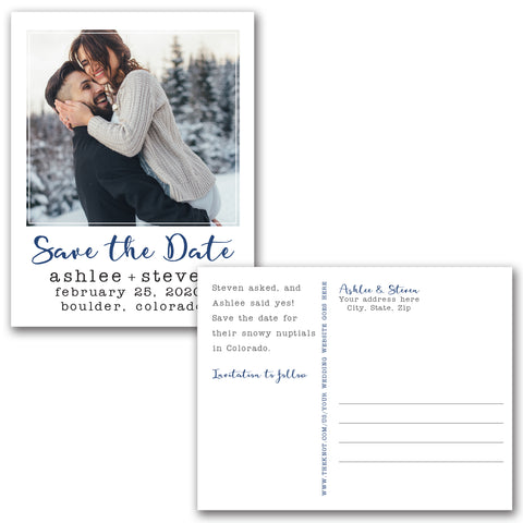 Modern Polaroid Save the Date Magnet or Postcard