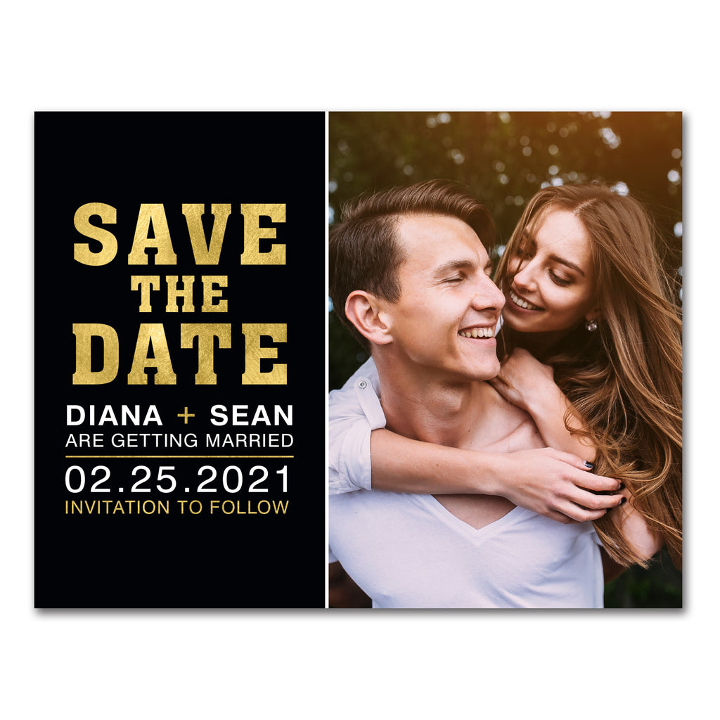 Modern Gold Save-the-Date Magnet or Postcard
