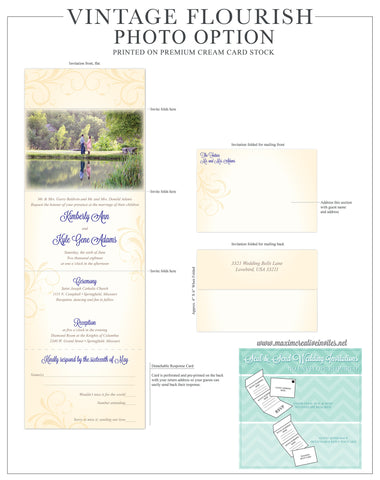 Vintage Flourish Photo - Seal and Send Wedding Invitation - maximcreativeinvites