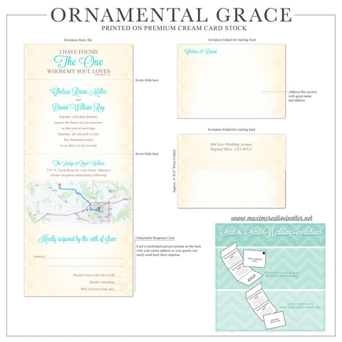 Ornamental Grace - Seal and Send Wedding Invitation - maximcreativeinvites