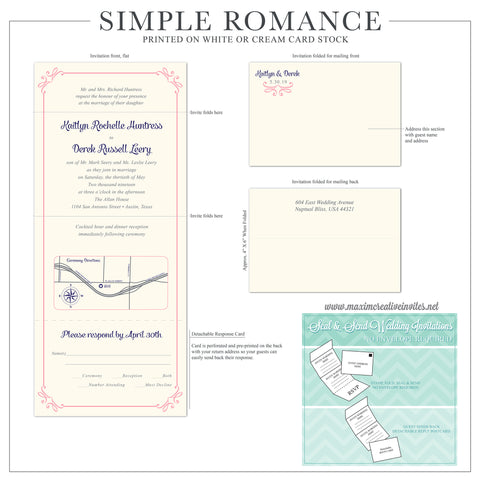 Simple Romance - Seal and Send Wedding Invitation - maximcreativeinvites