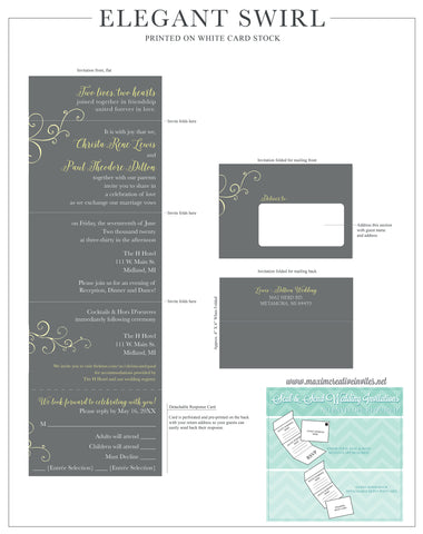 Elegant Swirl Seal and Send Invitation - All In One Invitation - Perforated RSVP Card - Folding Wedding Invitation - Self Mailer Style