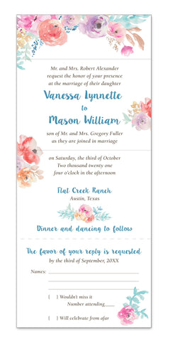 Watercolor Floral Secret Garden - Seal It and Send It Wedding Invitation