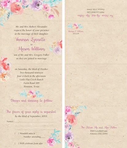 Floral Secret Garden - Seal It and Send It Wedding Invitation