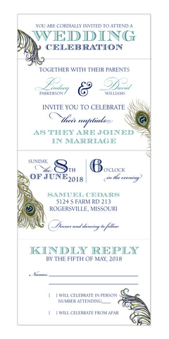 Peacock Feather - All In One Seal and Send Wedding Invitation