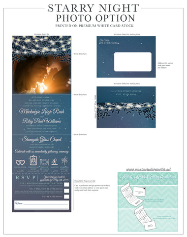 Starry Night - All In One Seal and Send Wedding Invitation