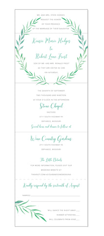 Watercolor Laurel Wreath Seal and Send Wedding Invitation