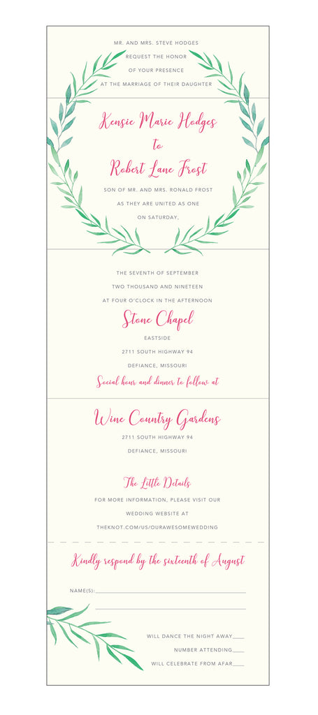 Seal And Send Wedding Invitations.Laurel Wreath Seal And Send Wedding Invitation