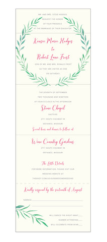 Laurel Wreath Watercolor Seal and Send Wedding Invitation