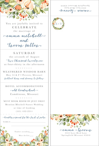 Peachy Spring Floral Seal It and Send It Invitation - All In One Invitation - Perforated RSVP Card - Folding Wedding Invitation - Self Mailer Style
