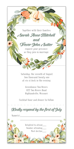 Peachy Wreath - Seal It and Send It Wedding Invitation - All-In-One Wedding Invite