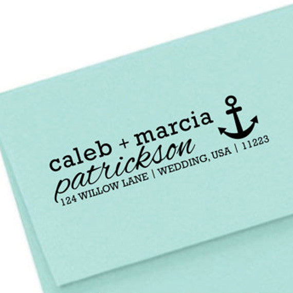 Personalized Nautical Address SELF INKING or WOOD HANDLE RUBBER Stamp • DESIGN 102 - maximcreativeinvites