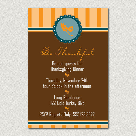 Thanksgiving Invitation - Be Thankful Holiday Invitation
