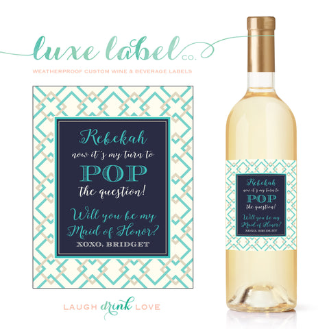"Will You ""Be My Bridesmaid"" Wine Label - Lattice Design Wine Label Wedding Wine Label - Wedding Wine Bottle Label - Wine Labels for Bridesmaids"