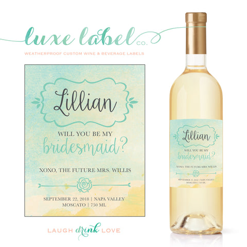 "Will You ""Be My Bridesmaid"" Wine Label - ""Watercolor Wine Label"" Wedding Wine Label, Wedding Wine Bottle Label - Wine Labels for Bridesmaids - maximcreativeinvites"