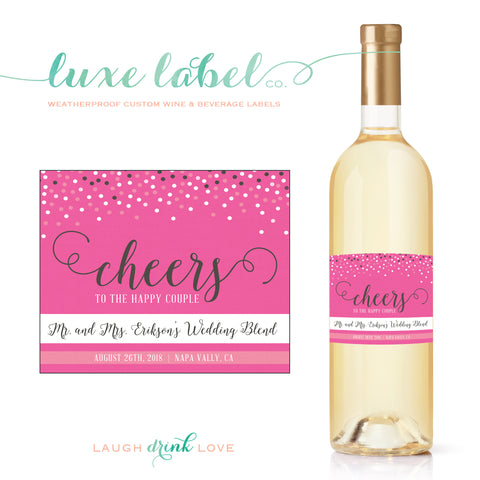 Cheers to the Happy Couple - Custom Wine Label - Engagement Wine Bottle Label - Favor - Gift - Centerpiece