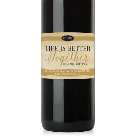 "Life is ""Better Together"" Thank You Wine Label - Wedding Wine Bottle Label - Favor - Gift - ""Wedding Centerpiece"" - maximcreativeinvites"