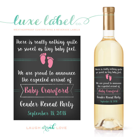 Pregnancy Announcement Custom Wine Labels - Proud Parent Birth Announcement Wine Label - Baby Foot Print Wine Label - Sip and See Shower