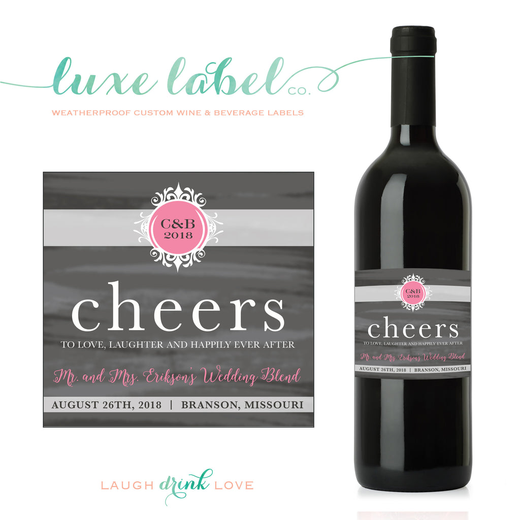 Cheers to Love, Laughter and Happily Ever After - Custom Wine Label - Engagement Wine Bottle Label - Favor - Gift - Centerpiece