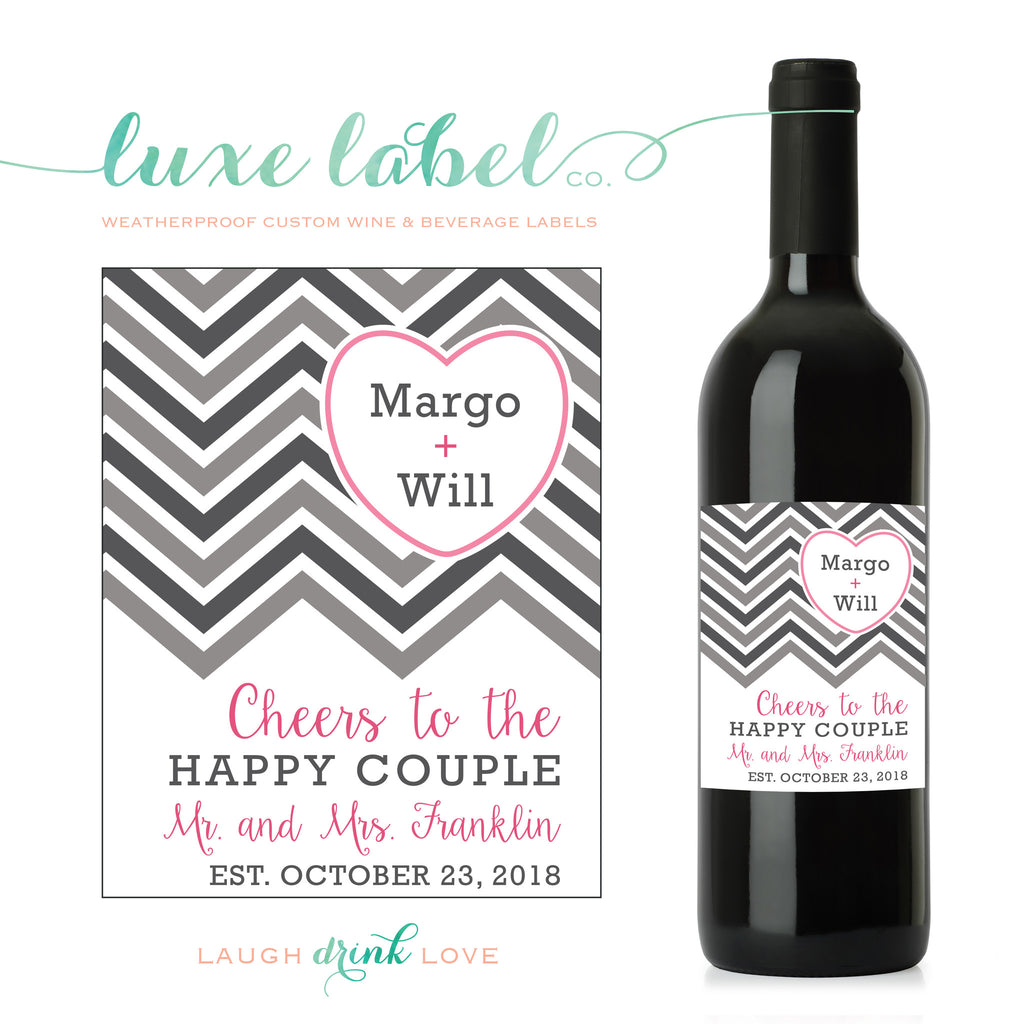Cheers to the Happy Couple Heart Wine Label - Custom Wine Label - Engagement Wine Bottle Label - Favor - Gift - Centerpiece