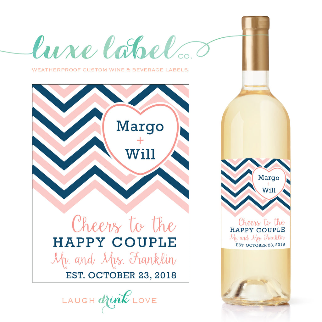 Cheers to the Happy Couple Chevron & Heart Wine Label - Custom Wine Label - Engagement Wine Bottle Label - Favor - Gift - Centerpiece