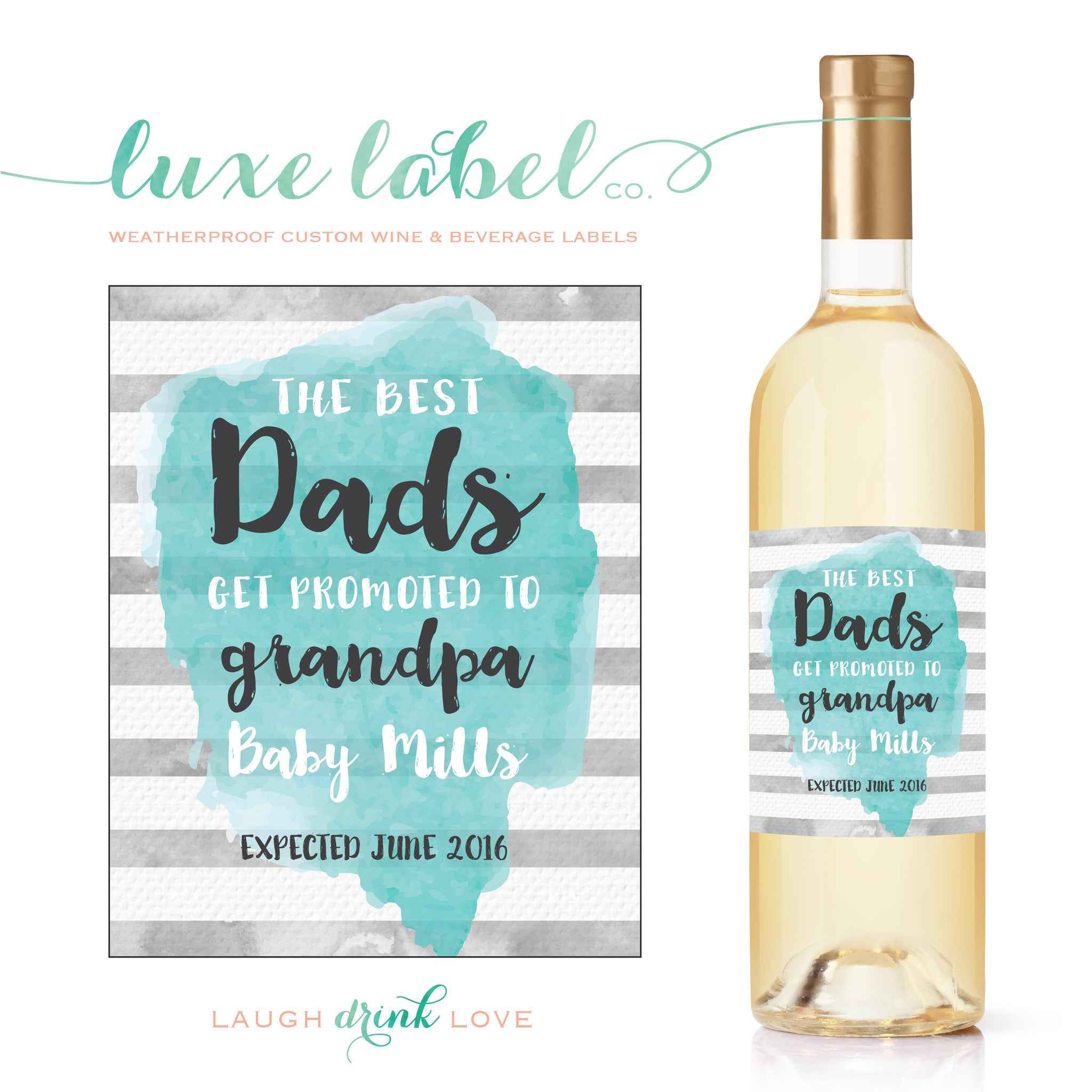 Baby Announcement Wine Bottle Label The Best Dads Get Promoted to Grandpa Wine Label Pregnancy Announcement Printable Pregnancy Reveal