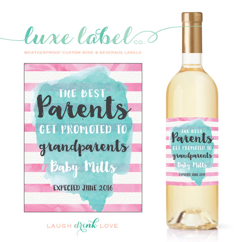 "The ""Best Parents Get Promoted to Grandparents"" Wine Label - Pregnancy Announcement Wine Label - Announcing Pregnancy - Watercolor Wine Label"
