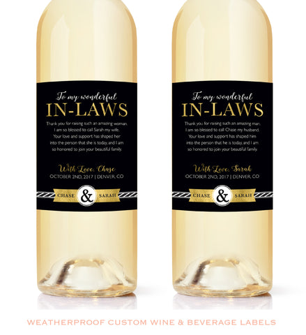 "Faux Gold Foil In-Law Wine Labels - Wedding Thank You Gift Parents of the Bride and Groom - Mother in Law Father ""Floral In-Law Wine Label"" Gift Thank You"