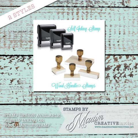 Personalized Address SELF INKING or WOOD HANDLE RUBBER Stamp - DESIGN 001 - maximcreativeinvites