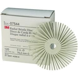"3M COMPANY  3"" Scotch-Brite Radial Bristle Discs 120 grade White Fine MM07544 - G and G Tools"