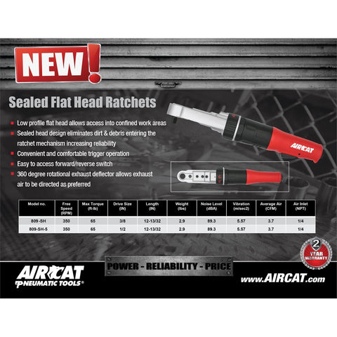 "AirCat 3/8"" Flat Head Ratchet ARC809-SH"