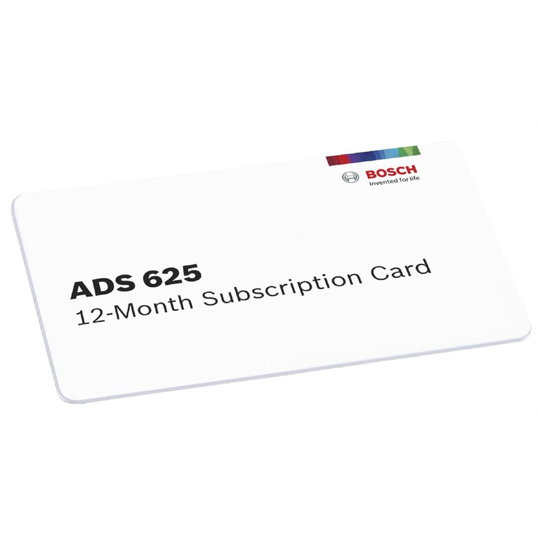 Bosch ADS 625 12-Month Software Subscription BO3970-SUB