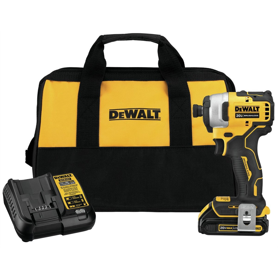 DeWalt ATOMIC 20V MAX Brushless Cordless Compact 1/4 in. Impact Driver w/ (1) Battery Kit DWDCF809C1
