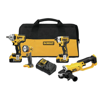 DeWalt 20V MAX 5 Ah Impact Wrench / Impact Driver / Grinder / Work Light 4-Piece Combo Kit  DWDCK498P2