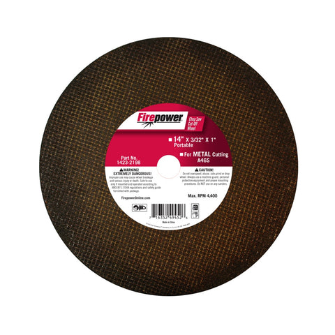 "FIREPOWER Chop Saw Cut-Off Wheel, 14""X3/32""X1""  FPW1423-2198"