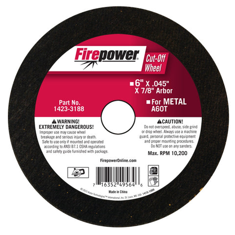 "FIREPOWER Cut-Off Wheel, 6""X .045"" X 7/8"" FPW1423-3188"