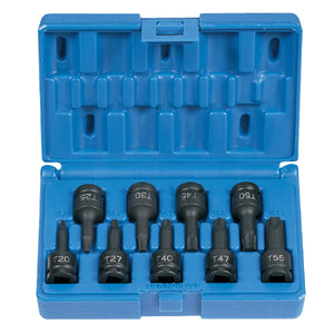 "GREY PNEUMATIC 3/8"" Drive 9 Piece Internal Torx Impact Driver Set GRE1200T"