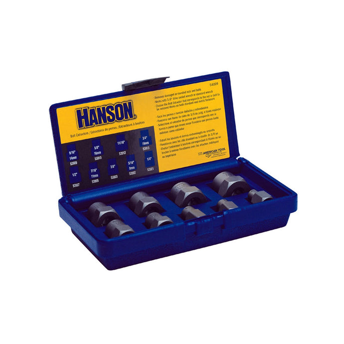 HANSON Bolt Extractor Set 9Pc 1/4