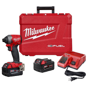 "Milwaukee M18 FUEL 1/4"" Hex Impact Driver w/ (2) Batteries Kit MWK2853-22 - G and G Tools"