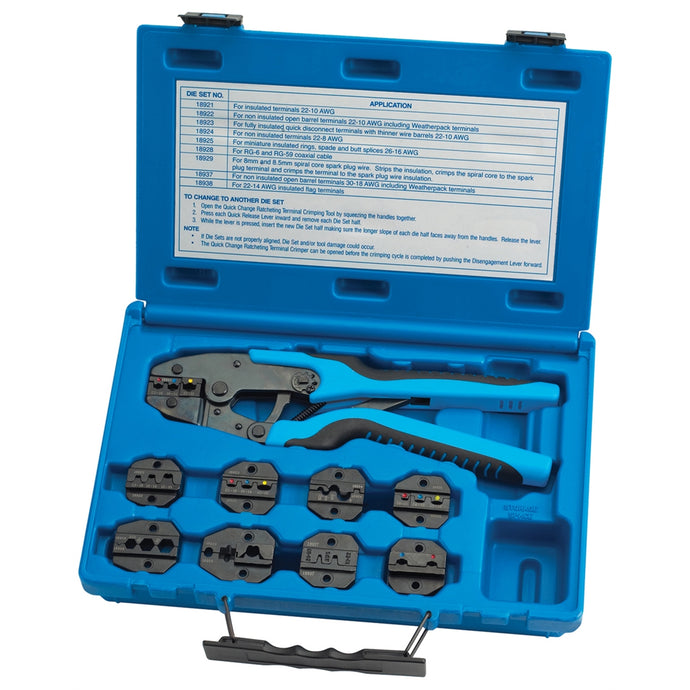 SG TOOL AID Quick Change Ratcheting Terminal Crimping Kit W/9 SGT18980