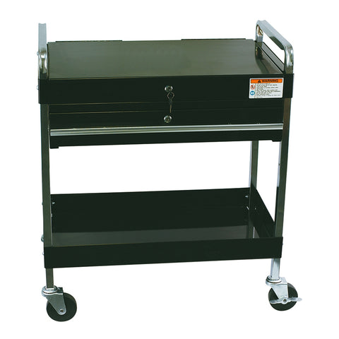 SUNEX Service Cart W/Locking Top & Drawer Black SUN8013ABK