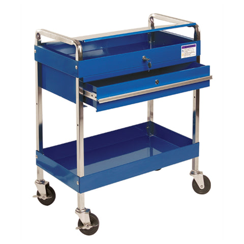 SUNEX Service Cart W/Locking Top & Drawer Blue SUN8013ABL