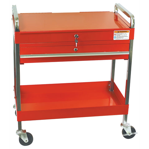 SUNEX Service Cart W/Locking Top & Drawer Red SUN8013A