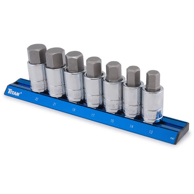 TITAN 7Pc Metric Large Hex Bit Socket Set TIT16131