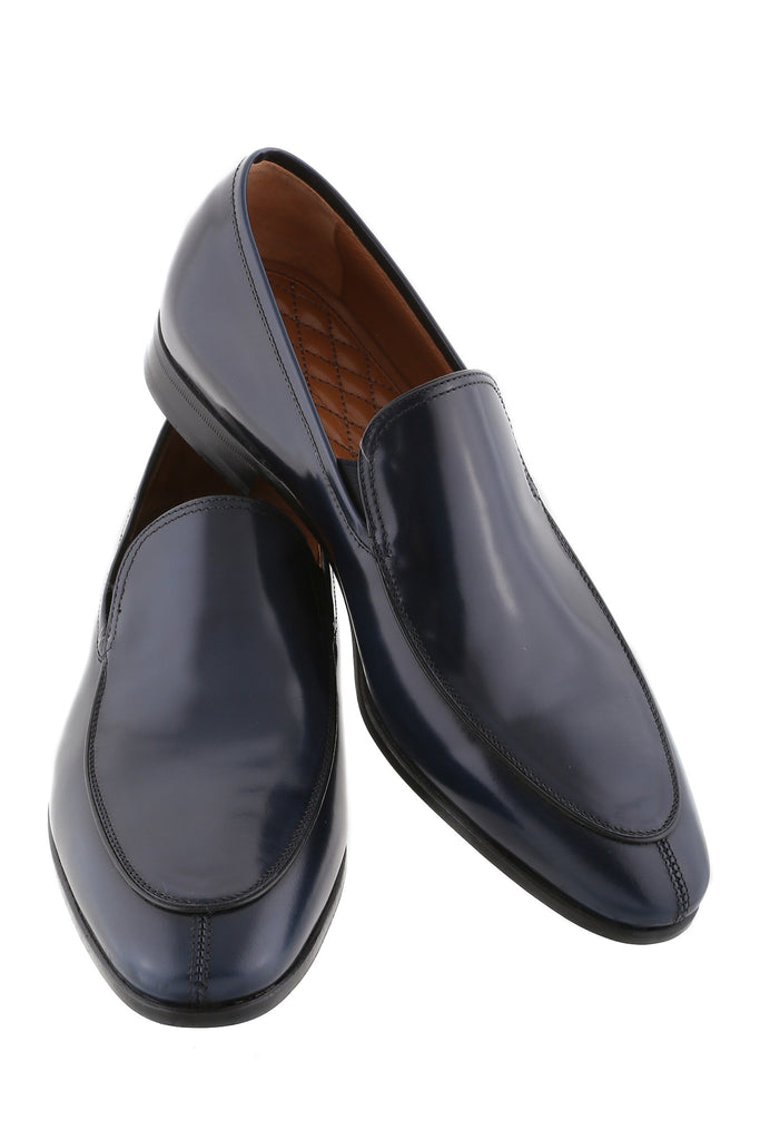 Navy Blue Fernando Leather Loafers