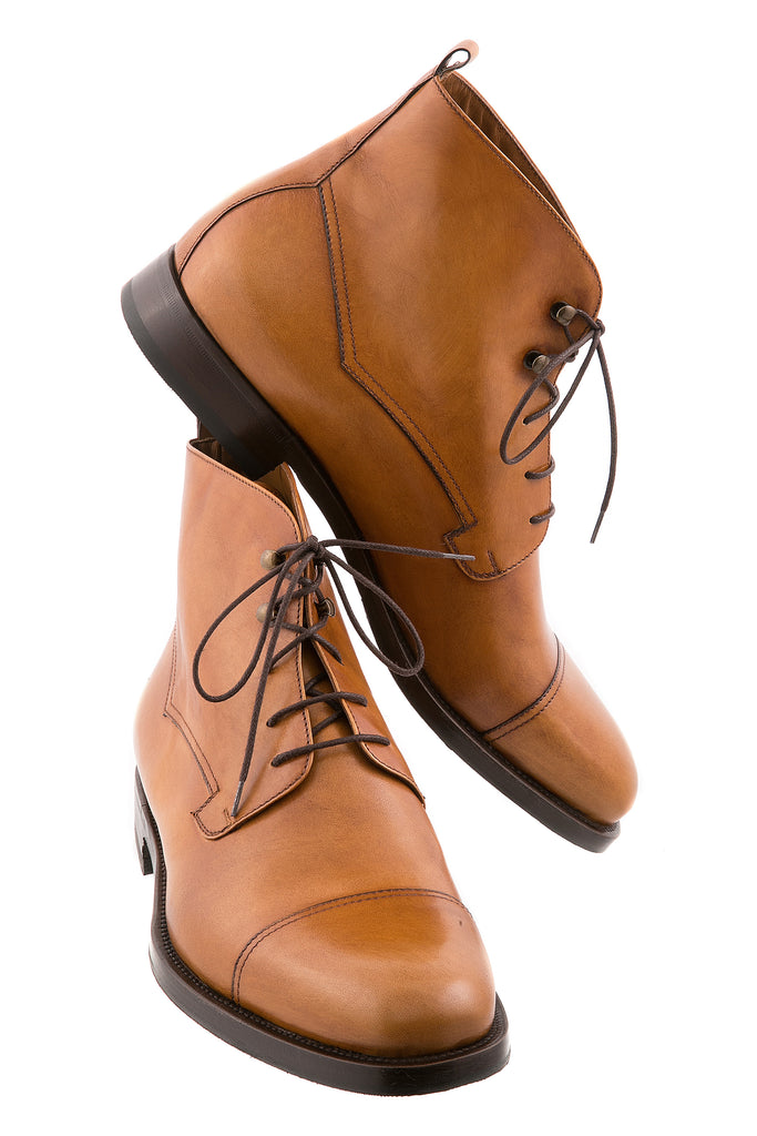 Tan Giorgio Leather Ankle High Boots
