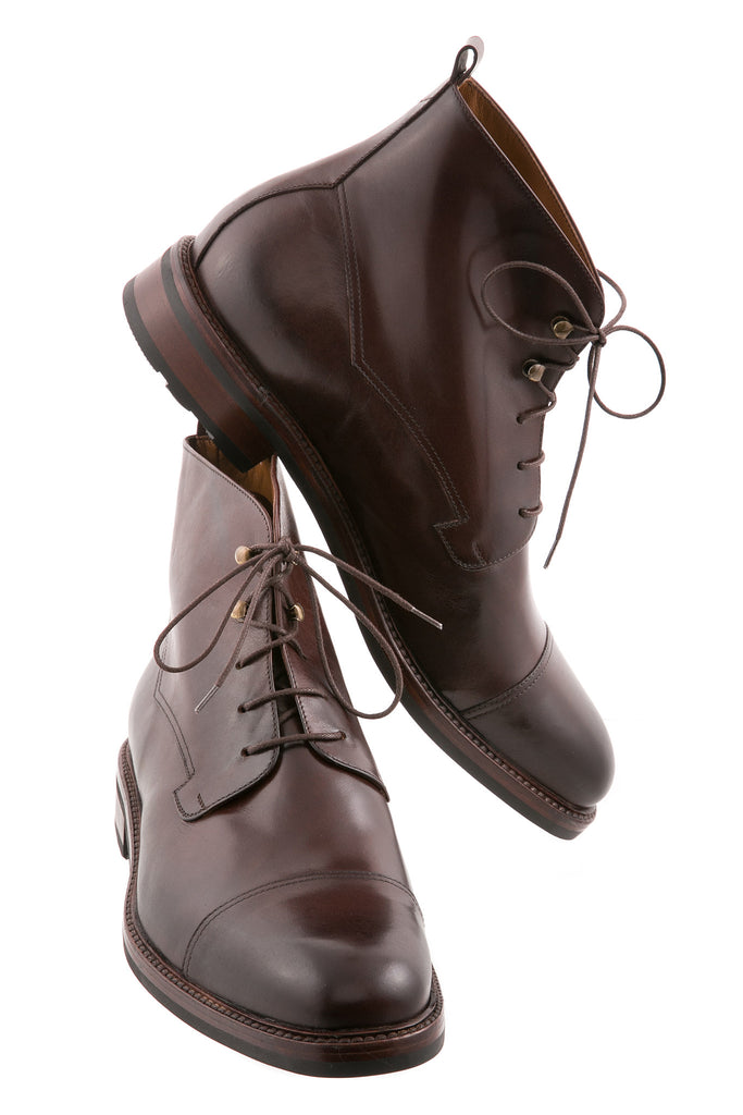 Dark Brown Giorgio Leather Ankle High Boots