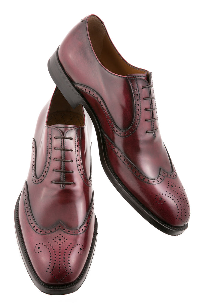 Bordeaux Leonardo Leather Brogue Wingtip Oxfords