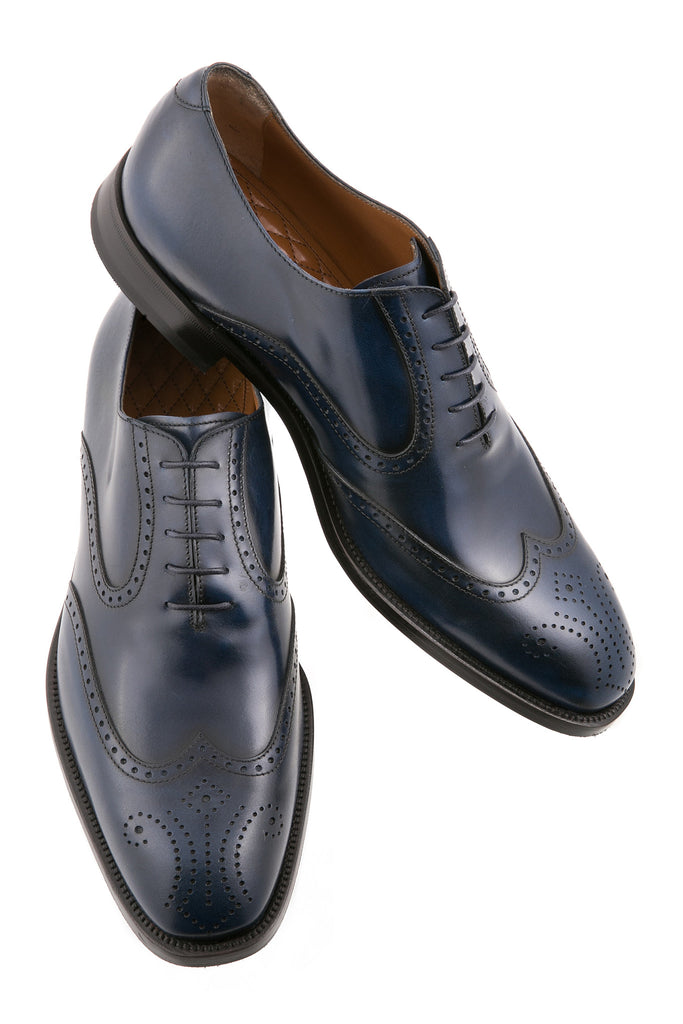 Navy Blue Leonardo Leather Brogue Wingtip Oxfords