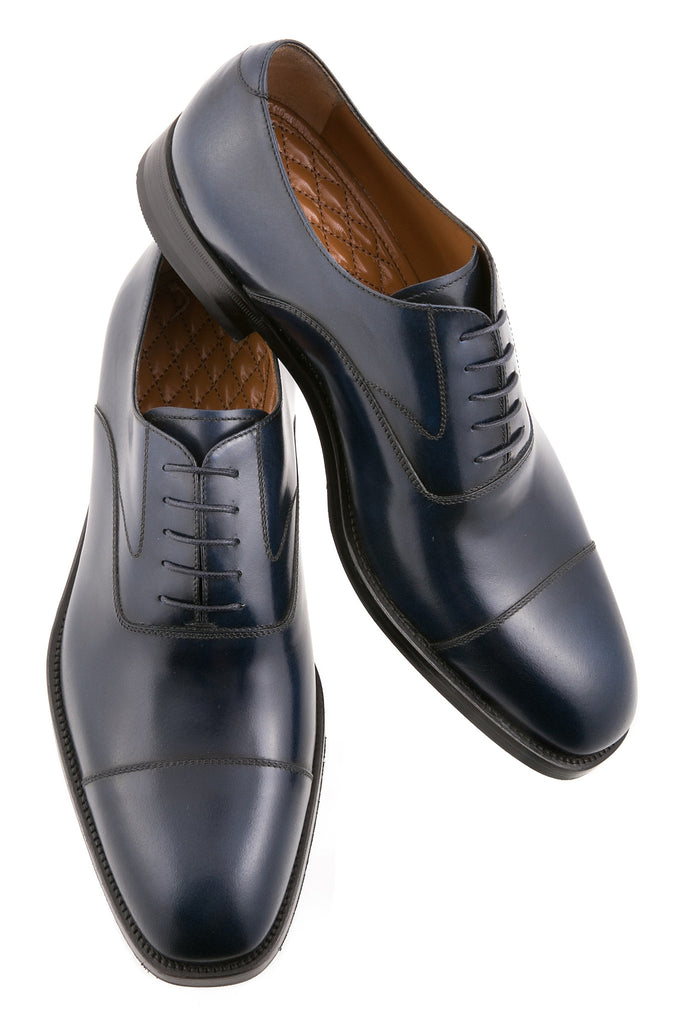 Navy Blue Dario Leather Cap-Toe Oxfords